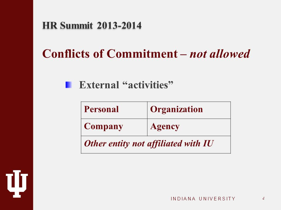 "HR Summit 2013-2014 INDIANA UNIVERSITY 4 Conflicts of Commitment – not allowed External ""activities"" PersonalOrganization CompanyAgency Other entity n"