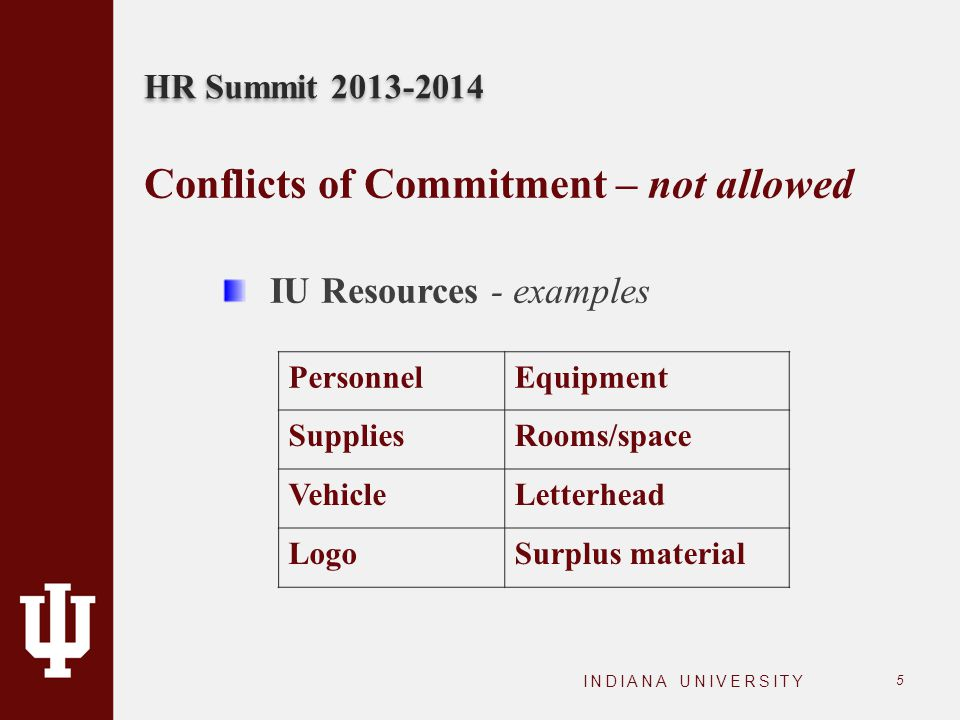 HR Summit 2013-2014 INDIANA UNIVERSITY 5 Conflicts of Commitment – not allowed IU Resources - examples PersonnelEquipment SuppliesRooms/space VehicleL