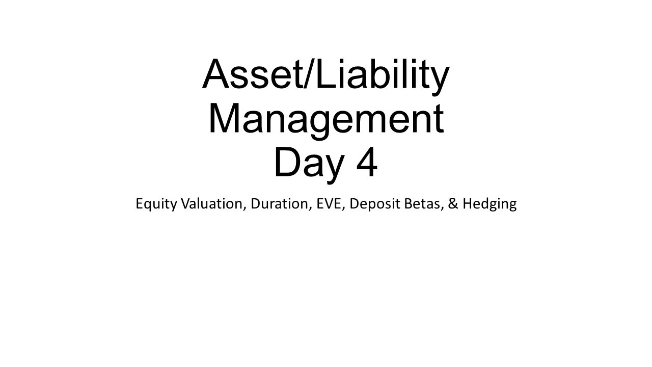 Equity Valuation Focus Basic fixed income security valuation rule: Rates rise  value falls Rates fall  value rises Market value of equity MVEQ is the market value of assets (MVA) minus the market value of liabilities (MVL) Rate changes result in changes in MVA and MVL Changes in MVEQ caused by interest rate changes reflect interest rate risk 2