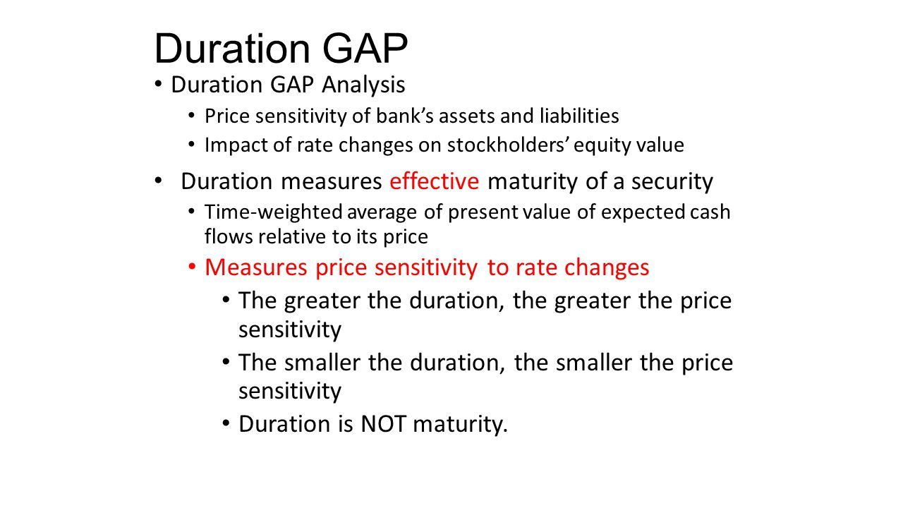 Duration GAP Duration GAP Model Focus on managing market value of equity Compares duration of assets with duration of liabilities The larger the duration GAP, the larger the change in the economic value of stockholders' equity when interest rates change A duration GAP of zero implies that changes in rates would not affect the value of equity 4