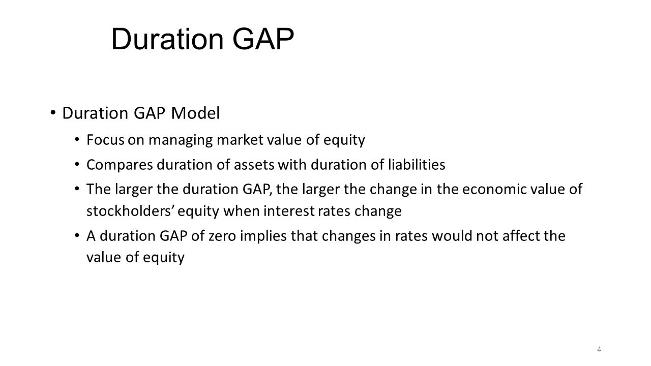 Positive and Negative Duration GAPs Positive DGAP – assets are more price sensitive than liabilities Rates rise: assets fall proportionately more in value than liabilities, so EVE falls fall Rates fall: assets rise proportionately more in value than liabilities, so EVE rises Negative DGAP - liabilities are more price sensitive than assets Rates rise: assets fall proportionately less in value than liabilities, so EVE rises Rates fall: assets rise proportionately less in value than liabilities, so EVE falls 5