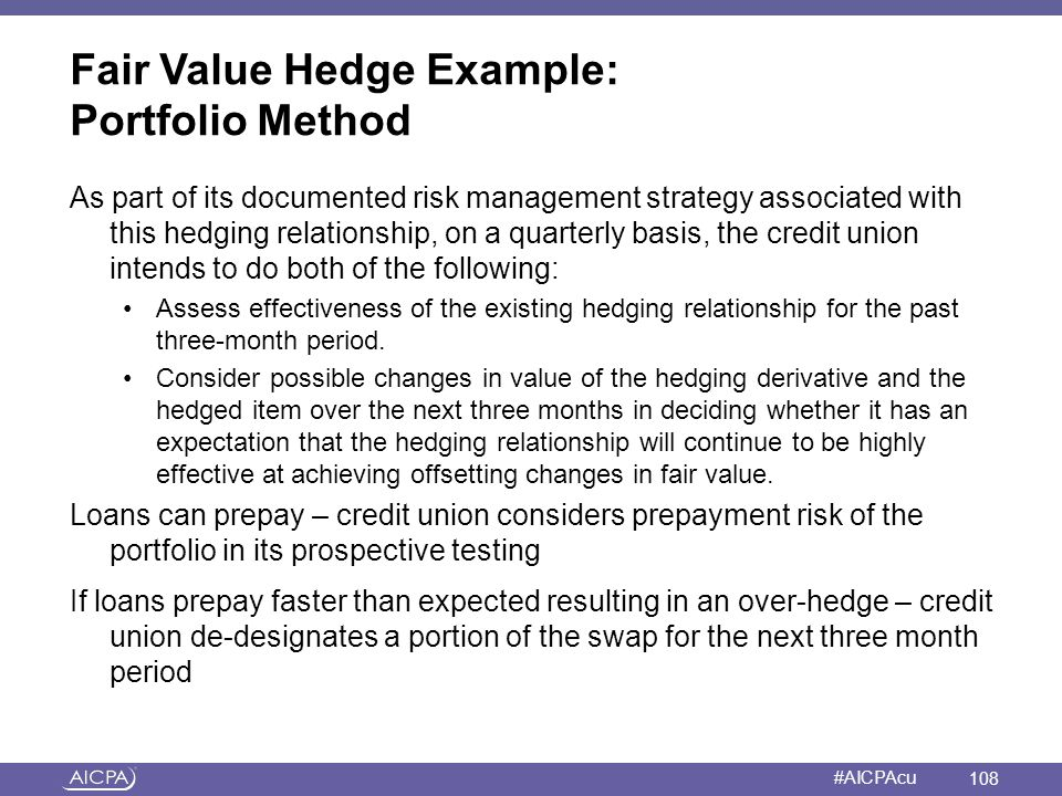 American Institute of CPAs #AICPAcu Fair Value Hedge Example: Portfolio Method As part of its documented risk management strategy associated with this