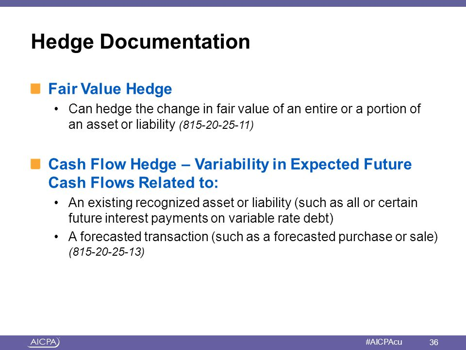 American Institute of CPAs #AICPAcu Hedge Documentation Fair Value Hedge Can hedge the change in fair value of an entire or a portion of an asset or l