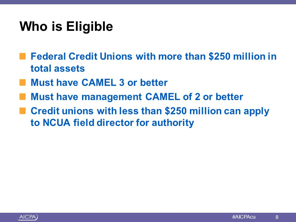 American Institute of CPAs #AICPAcu Credit Unions Must Apply for Authority to Use Derivatives Demonstrate how derivatives will mitigate IRR Detail derivatives the CU intends to use and why Have policies in place Detail how credit union will acquire appropriate resources, controls and systems to implement sound program Specify how ESPs will be used Address margining and collateral Describe how it will meet GAAP 29