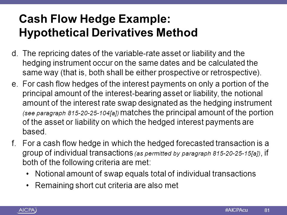 American Institute of CPAs #AICPAcu Cash Flow Hedge Example: Hypothetical Derivatives Method d.The repricing dates of the variable-rate asset or liabi
