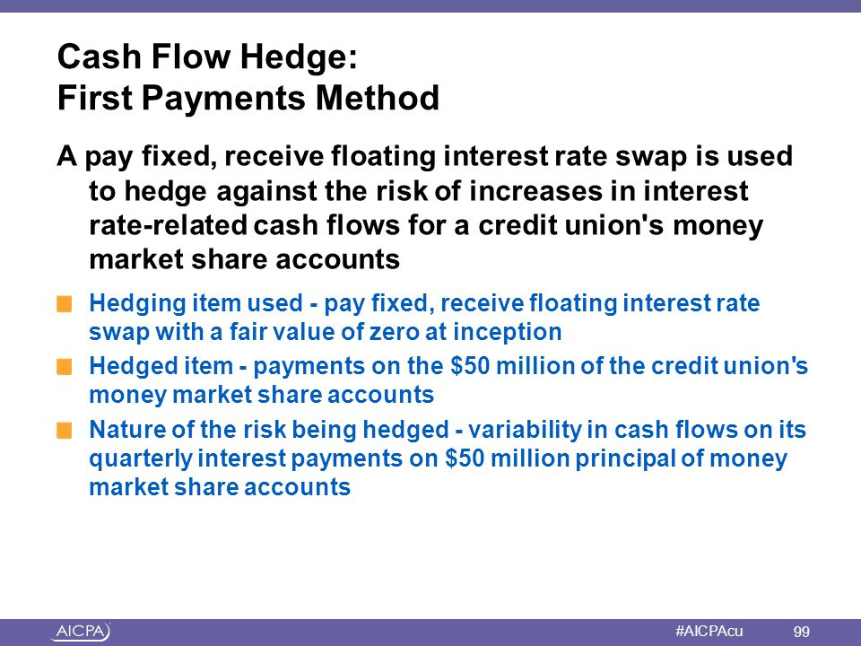 American Institute of CPAs #AICPAcu Cash Flow Hedge: First Payments Method A pay fixed, receive floating interest rate swap is used to hedge against t