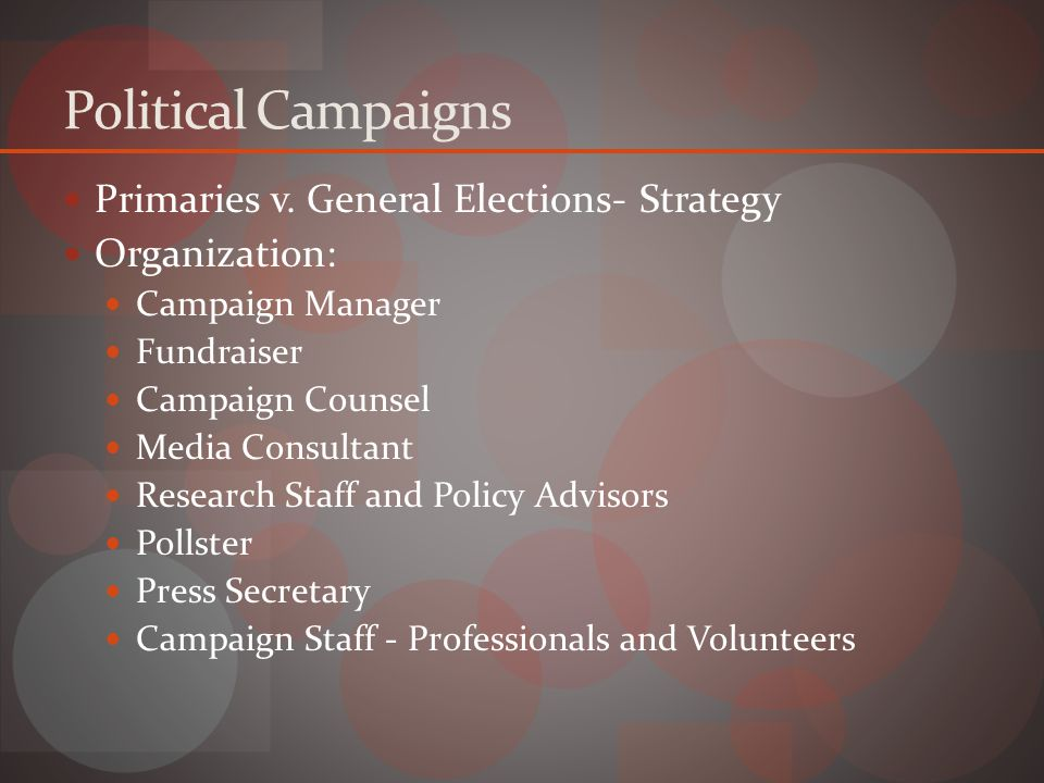 Political Campaigns Primaries v.