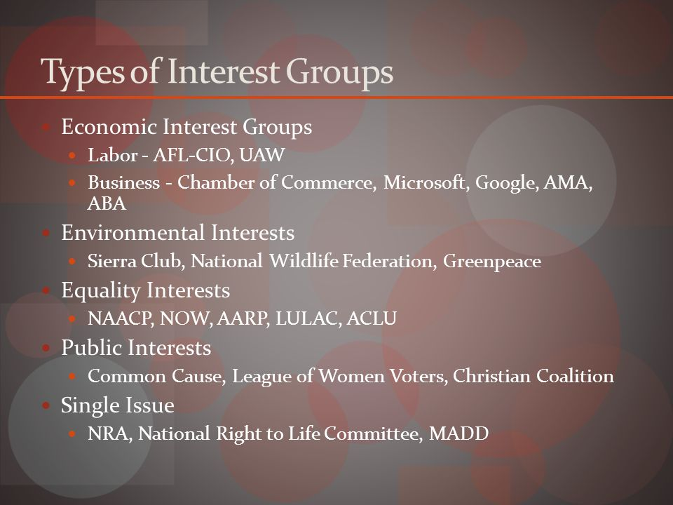 Types of Interest Groups Economic Interest Groups Labor - AFL-CIO, UAW Business - Chamber of Commerce, Microsoft, Google, AMA, ABA Environmental Interests Sierra Club, National Wildlife Federation, Greenpeace Equality Interests NAACP, NOW, AARP, LULAC, ACLU Public Interests Common Cause, League of Women Voters, Christian Coalition Single Issue NRA, National Right to Life Committee, MADD