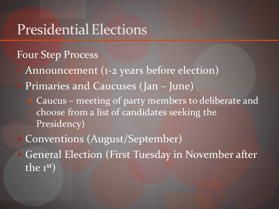 Presidential Elections Four Step Process Announcement (1-2 years before election) Primaries and Caucuses (Jan – June) Caucus – meeting of party members to deliberate and choose from a list of candidates seeking the Presidency) Conventions (August/September) General Election (First Tuesday in November after the 1 st )