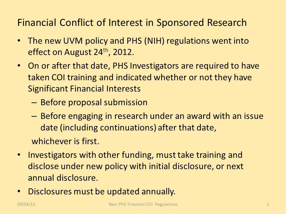 09/04/13New PHS Financial COI Regulations13