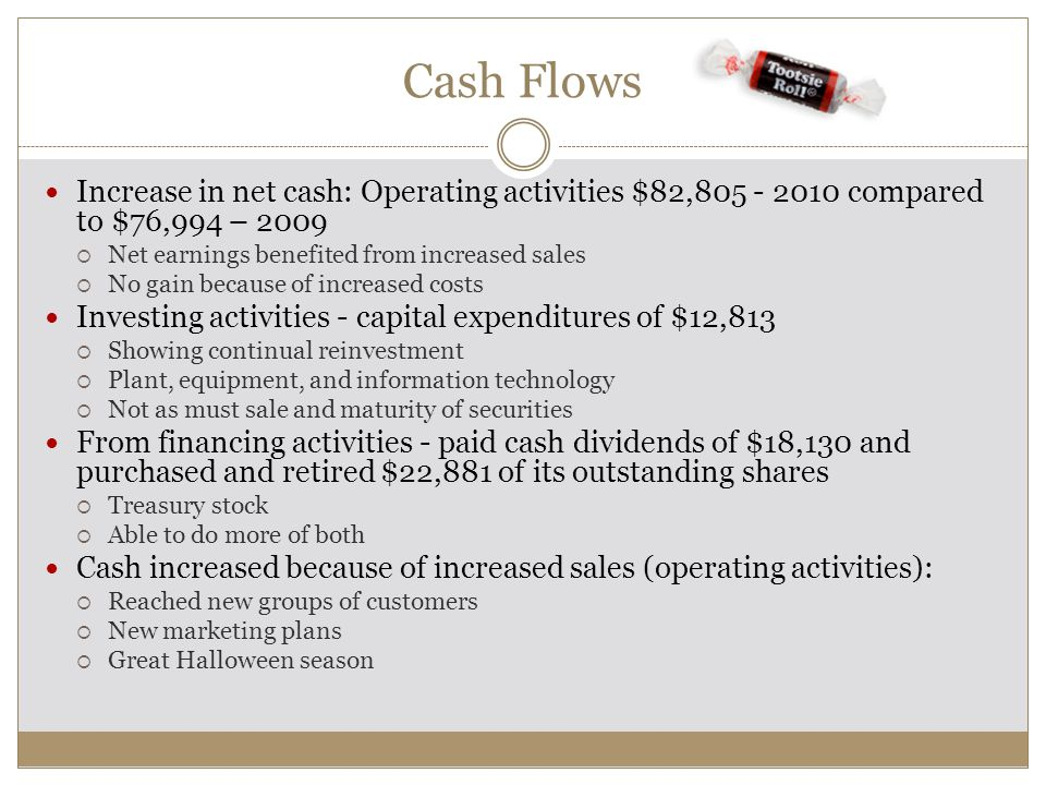 Cash Flows Increase in net cash: Operating activities $82,805 - 2010 compared to $76,994 – 2009  Net earnings benefited from increased sales  No gai