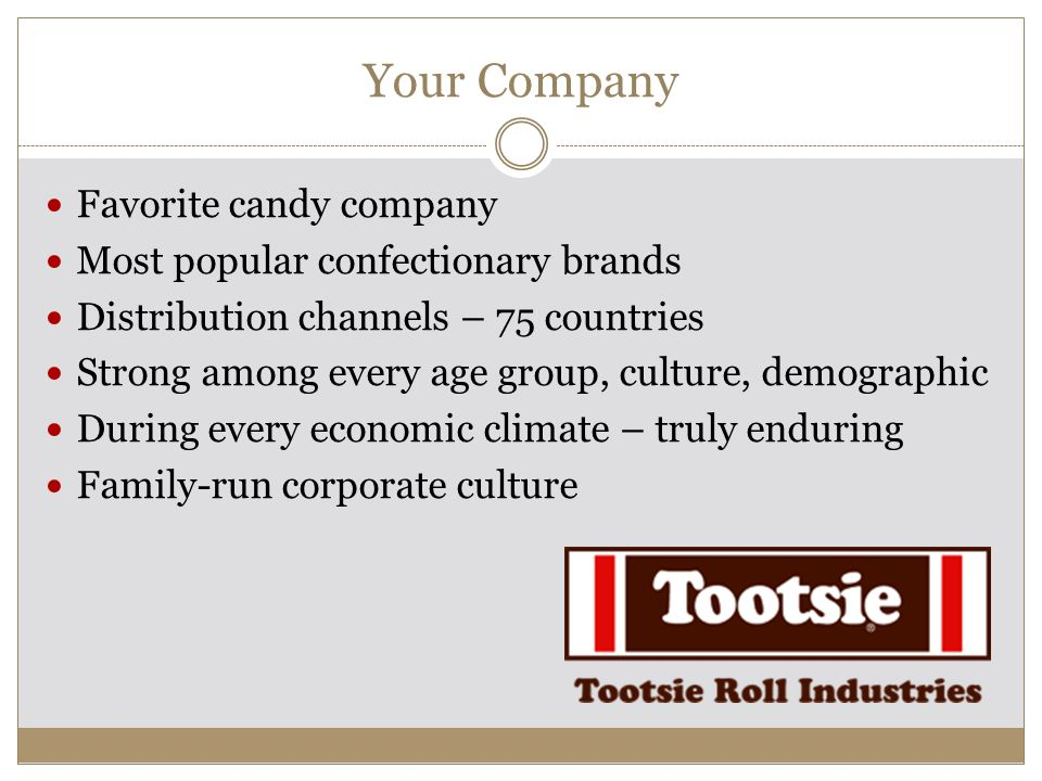 Your Company Favorite candy company Most popular confectionary brands Distribution channels – 75 countries Strong among every age group, culture, demo