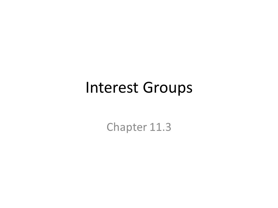 Interest Groups Chapter 11.3