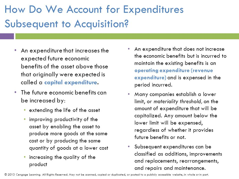 How Do We Account for Expenditures Subsequent to Acquisition.