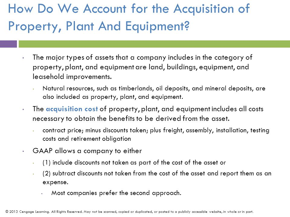 The major types of assets that a company includes in the category of property, plant, and equipment are land, buildings, equipment, and leasehold improvements.