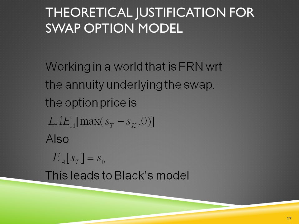 THEORETICAL JUSTIFICATION FOR SWAP OPTION MODEL 17