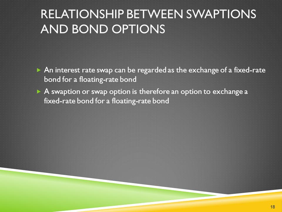 RELATIONSHIP BETWEEN SWAPTIONS AND BOND OPTIONS  An interest rate swap can be regarded as the exchange of a fixed-rate bond for a floating-rate bond  A swaption or swap option is therefore an option to exchange a fixed-rate bond for a floating-rate bond 18