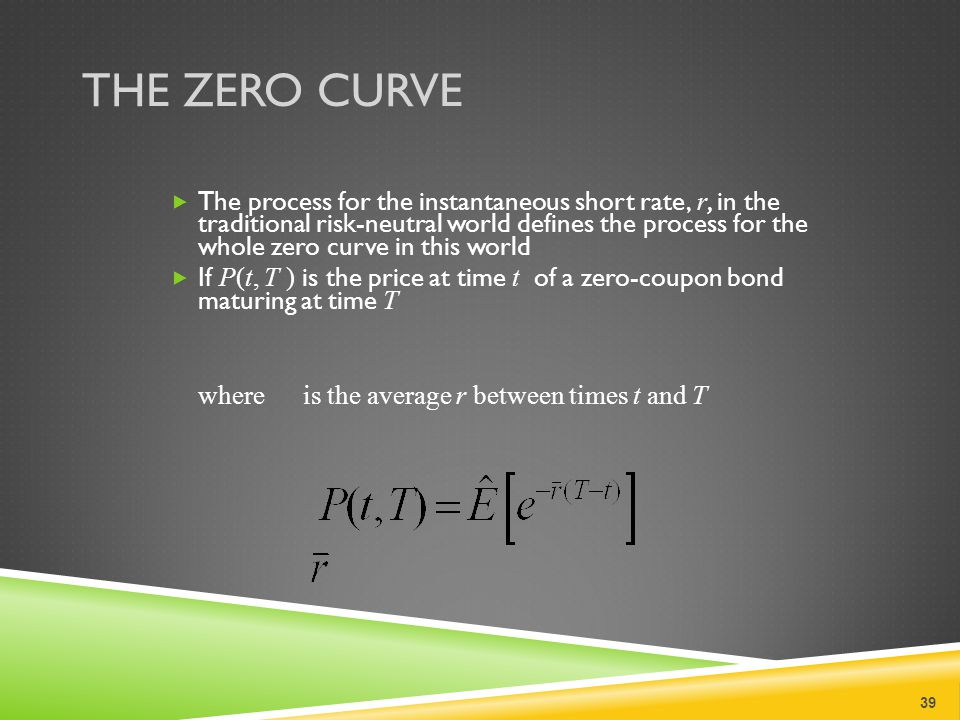 THE ZERO CURVE  The process for the instantaneous short rate, r, in the traditional risk-neutral world defines the process for the whole zero curve in this world  If P(t, T ) is the price at time t of a zero-coupon bond maturing at time T where is the average r between times t and T 39