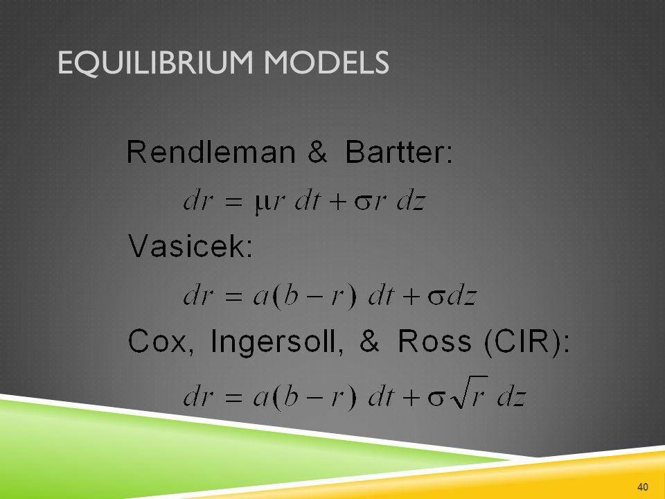 EQUILIBRIUM MODELS 40
