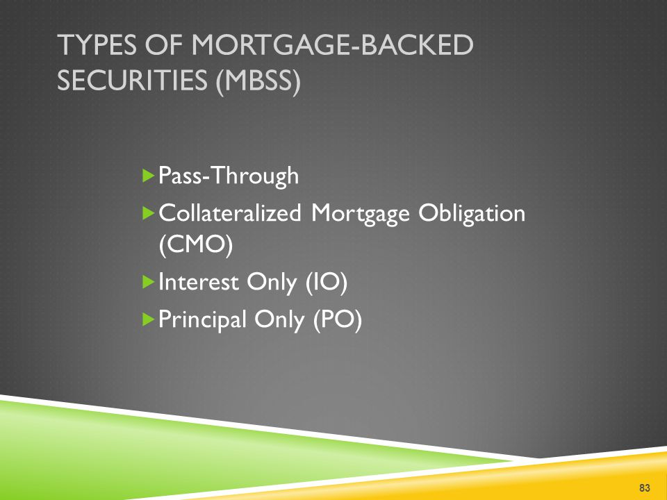 TYPES OF MORTGAGE-BACKED SECURITIES (MBSS)  Pass-Through  Collateralized Mortgage Obligation (CMO)  Interest Only (IO)  Principal Only (PO) 83