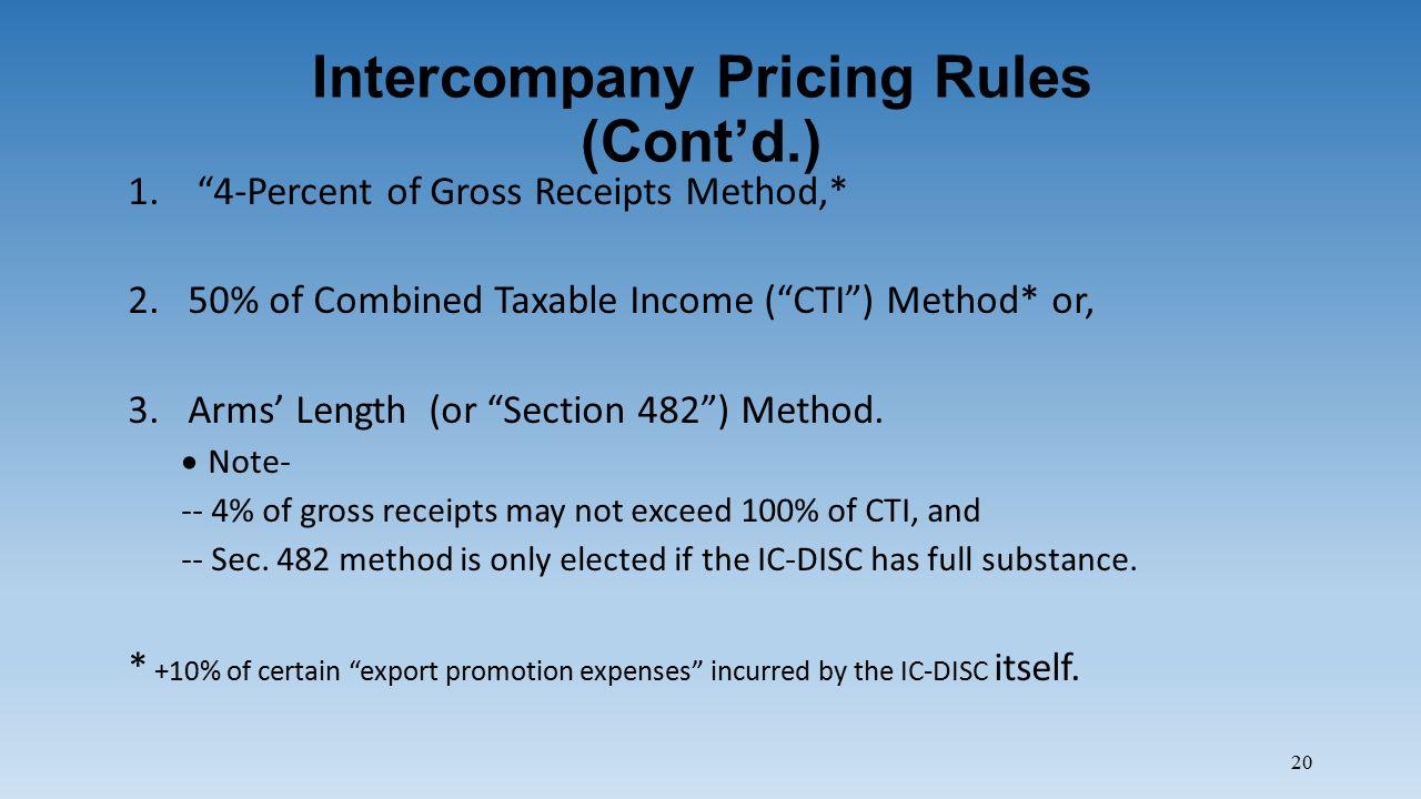 20 Intercompany Pricing Rules (Cont'd.) 1.