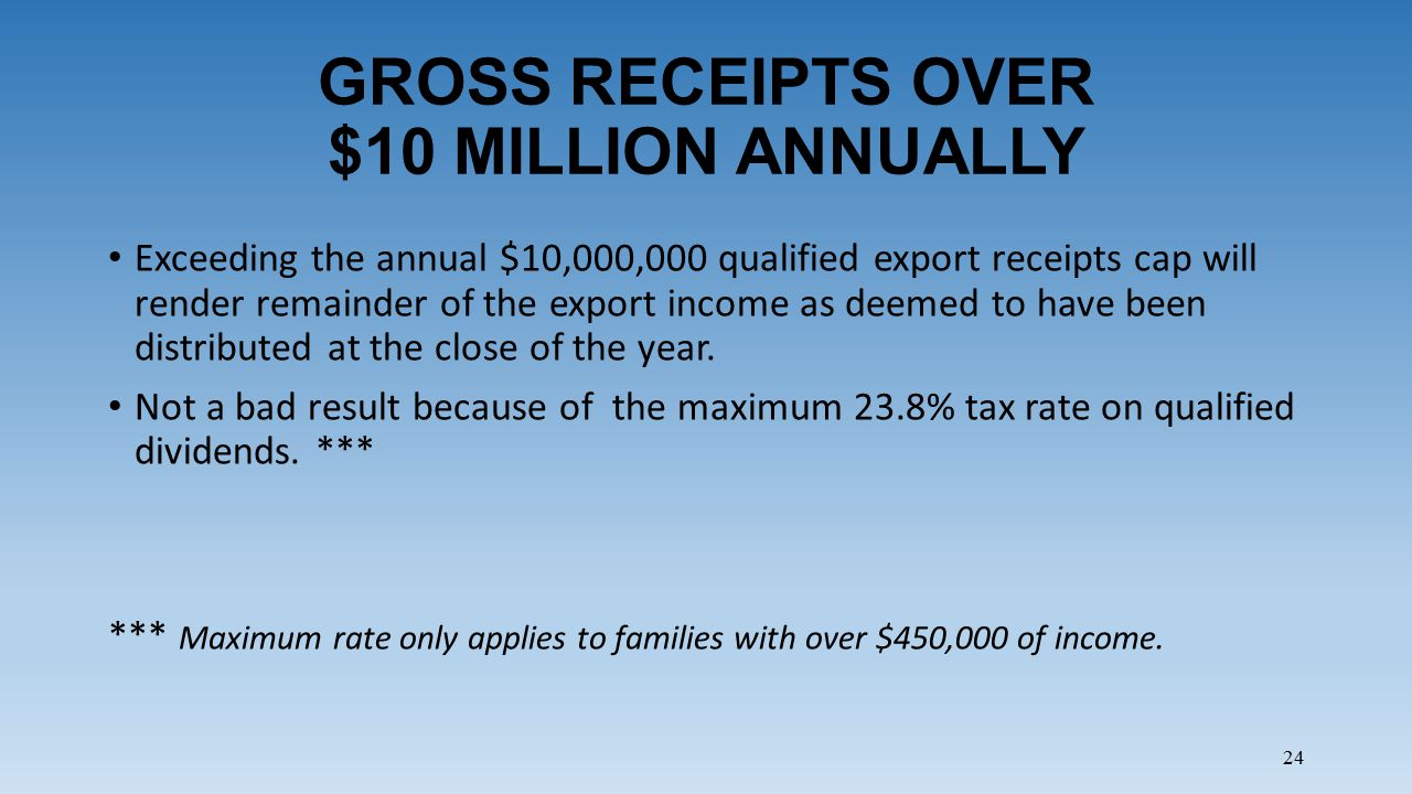 24 GROSS RECEIPTS OVER $10 MILLION ANNUALLY Exceeding the annual $10,000,000 qualified export receipts cap will render remainder of the export income as deemed to have been distributed at the close of the year.