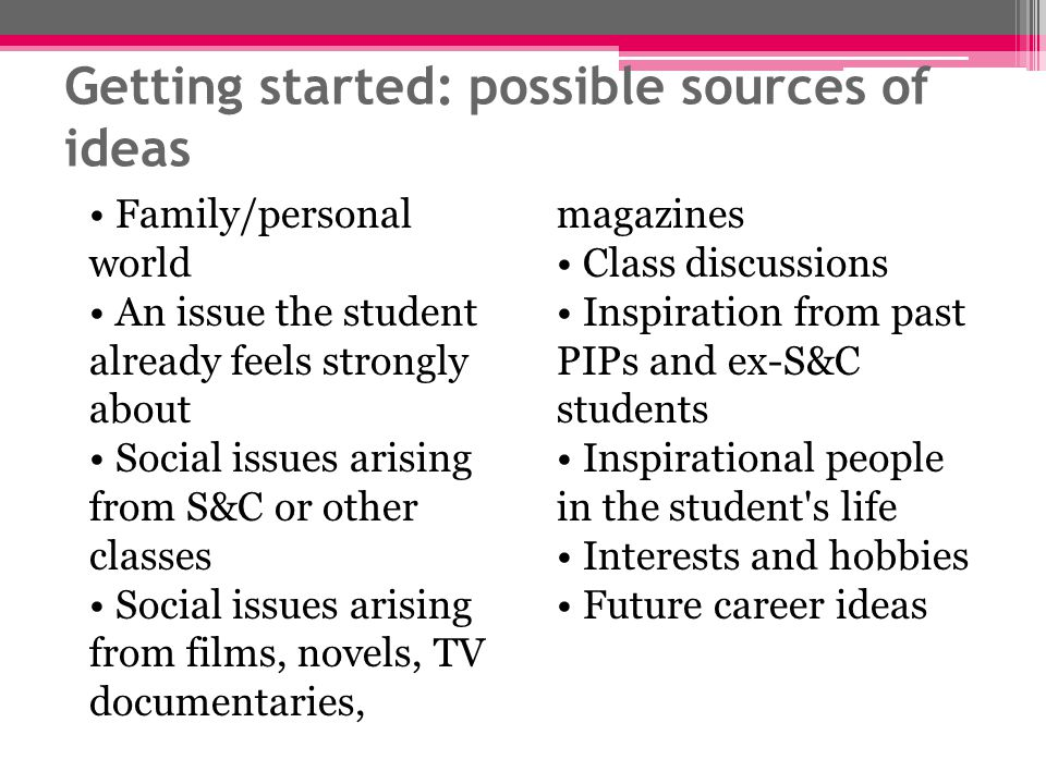 Getting started: possible sources of ideas Family/personal world An issue the student already feels strongly about Social issues arising from S&C or o