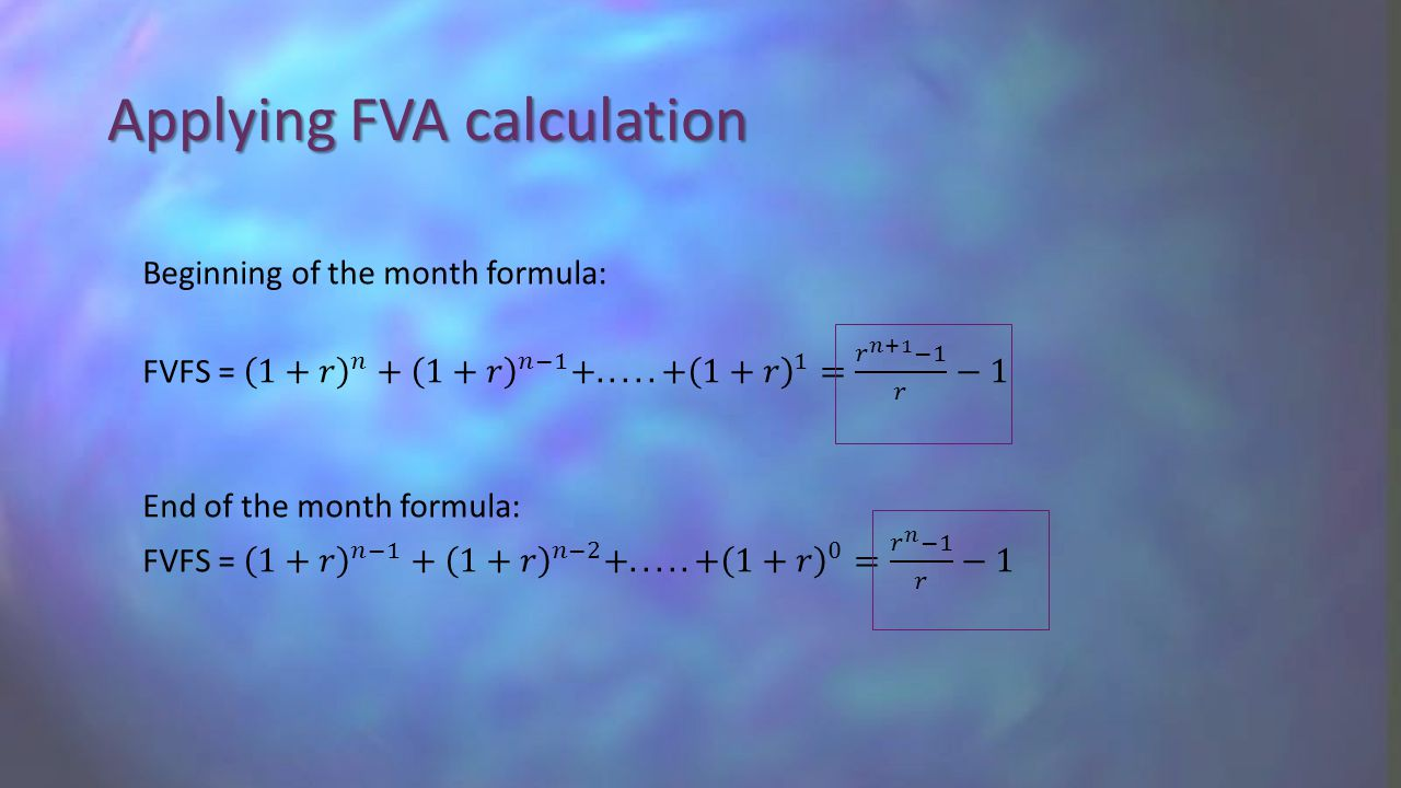 Applying FVA calculation