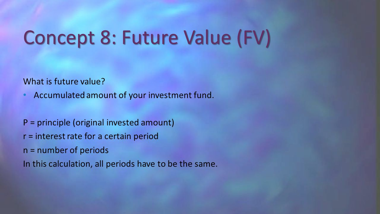 What is future value? Accumulated amount of your investment fund. P = principle (original invested amount) r = interest rate for a certain period n =