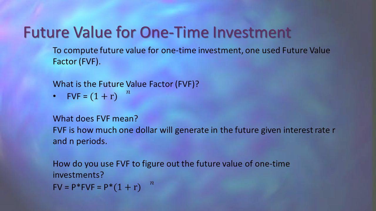 Future Value for One-Time Investment