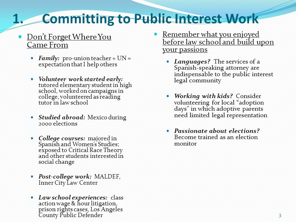 1.Committing to Public Interest Work Don't Forget Where You Came From Family: pro-union teacher + UN = expectation that I help others Volunteer work s