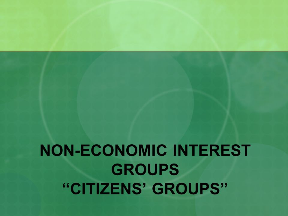 NON-ECONOMIC INTEREST GROUPS CITIZENS' GROUPS