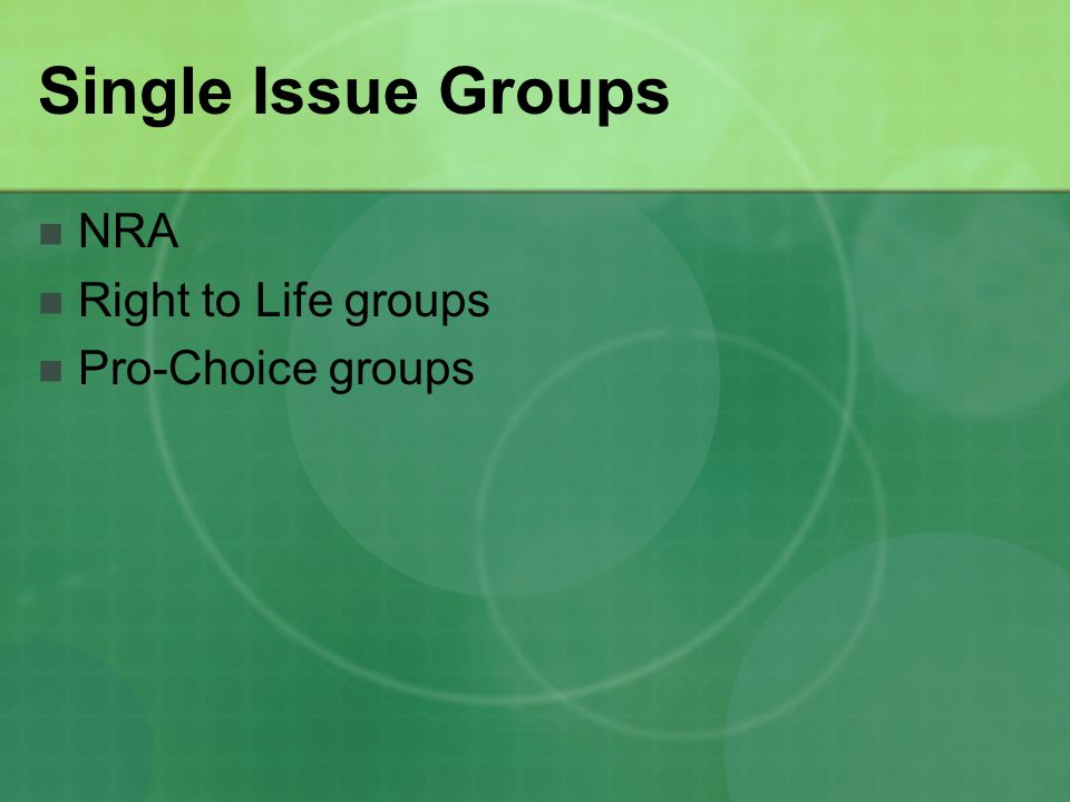 Single Issue Groups NRA Right to Life groups Pro-Choice groups