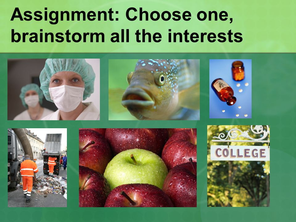Assignment: Choose one, brainstorm all the interests