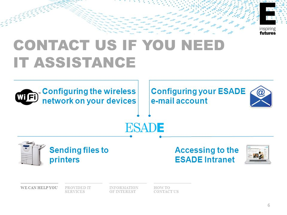 CONTACT US IF YOU NEED IT ASSISTANCE WE CAN HELP YOUINFORMATION OF INTEREST PROVIDED IT SERVICES HOW TO CONTACT US Configuring the wireless network on