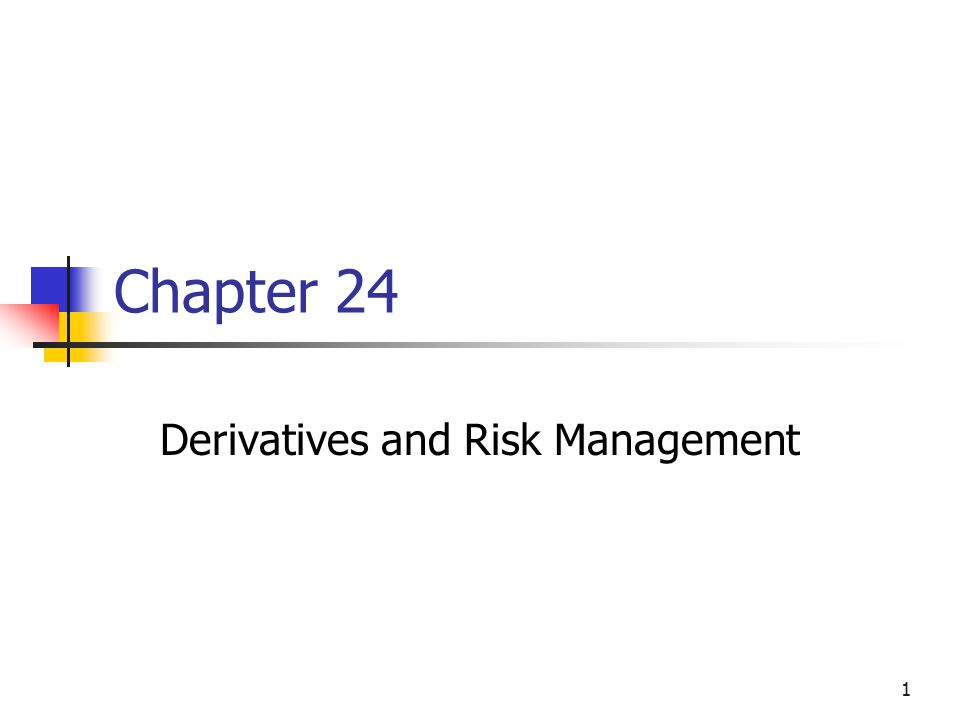 1 Chapter 24 Derivatives and Risk Management