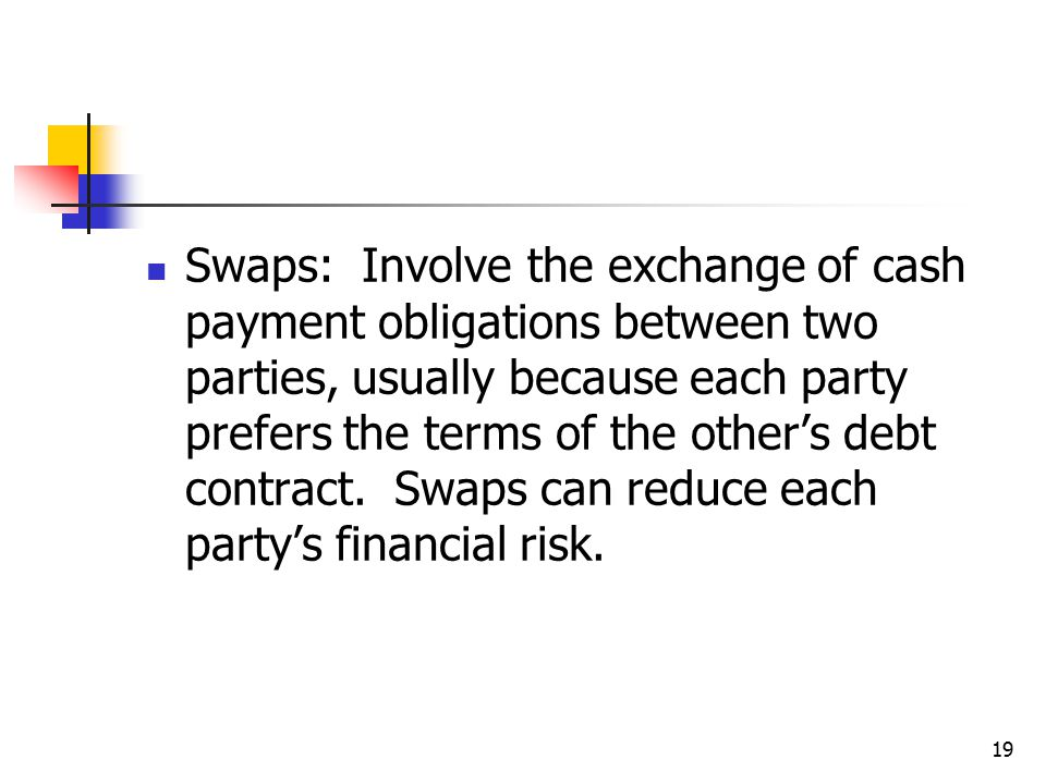 19 Swaps: Involve the exchange of cash payment obligations between two parties, usually because each party prefers the terms of the other's debt contract.