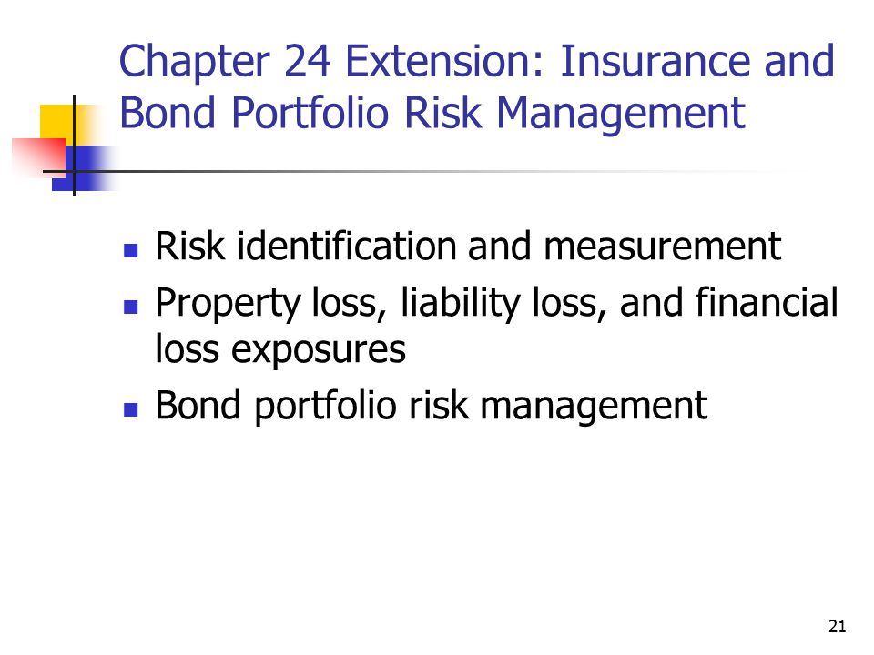 21 Chapter 24 Extension: Insurance and Bond Portfolio Risk Management Risk identification and measurement Property loss, liability loss, and financial loss exposures Bond portfolio risk management