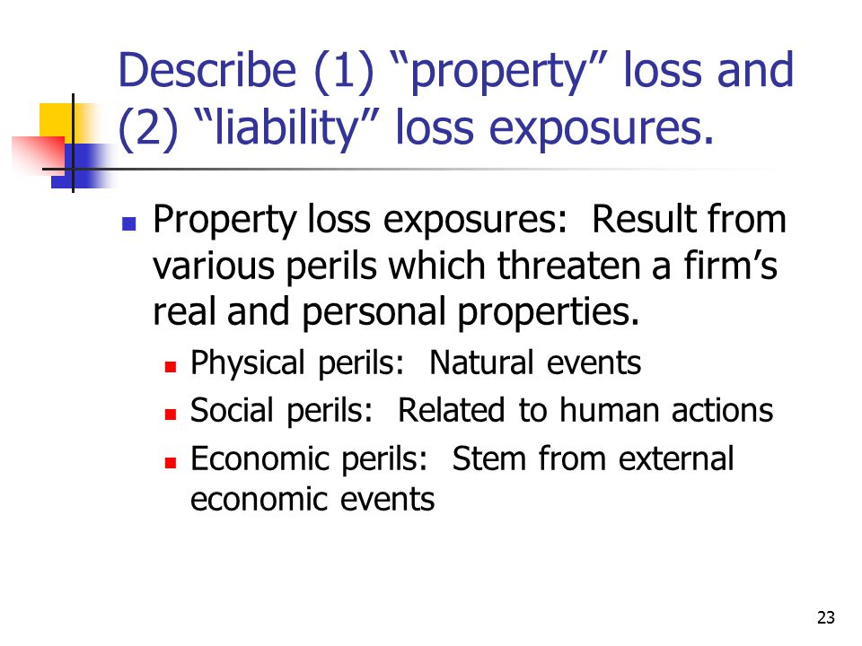 23 Describe (1) property loss and (2) liability loss exposures.