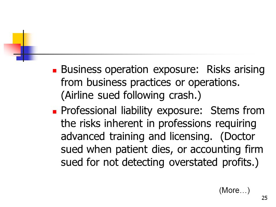 25 Business operation exposure: Risks arising from business practices or operations.