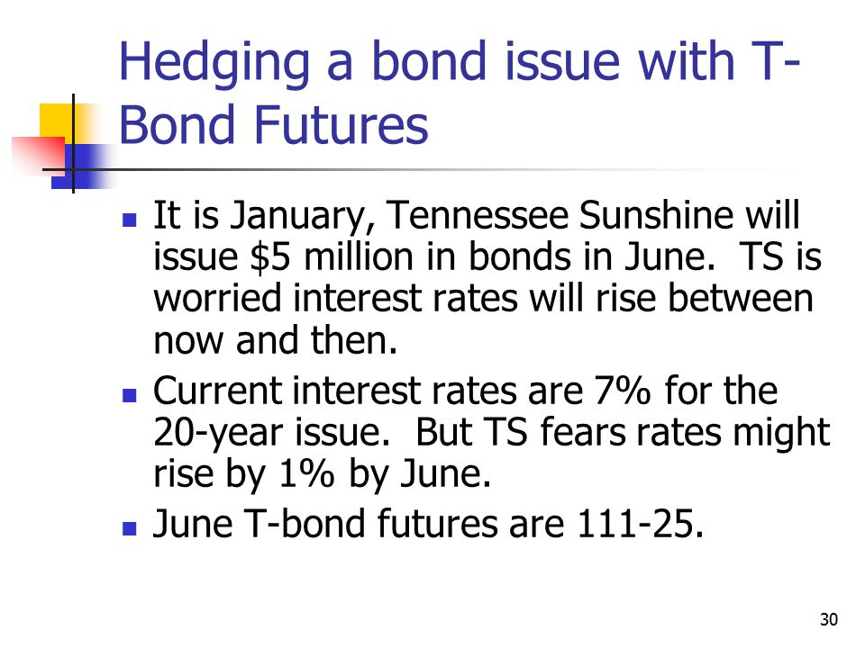 30 Hedging a bond issue with T- Bond Futures It is January, Tennessee Sunshine will issue $5 million in bonds in June.
