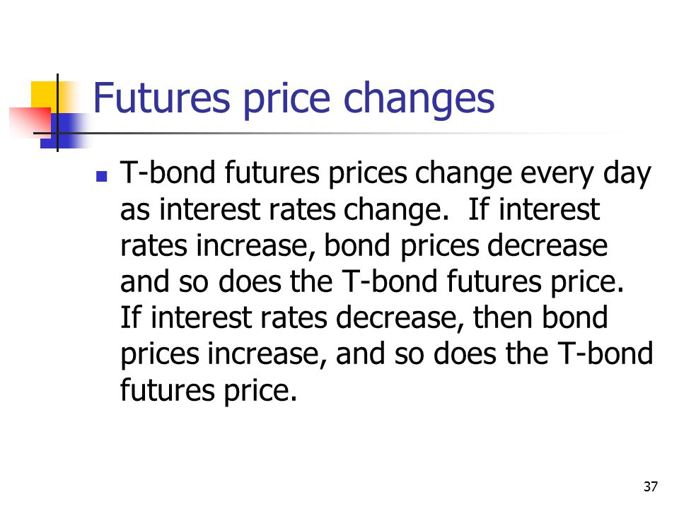 37 Futures price changes T-bond futures prices change every day as interest rates change.
