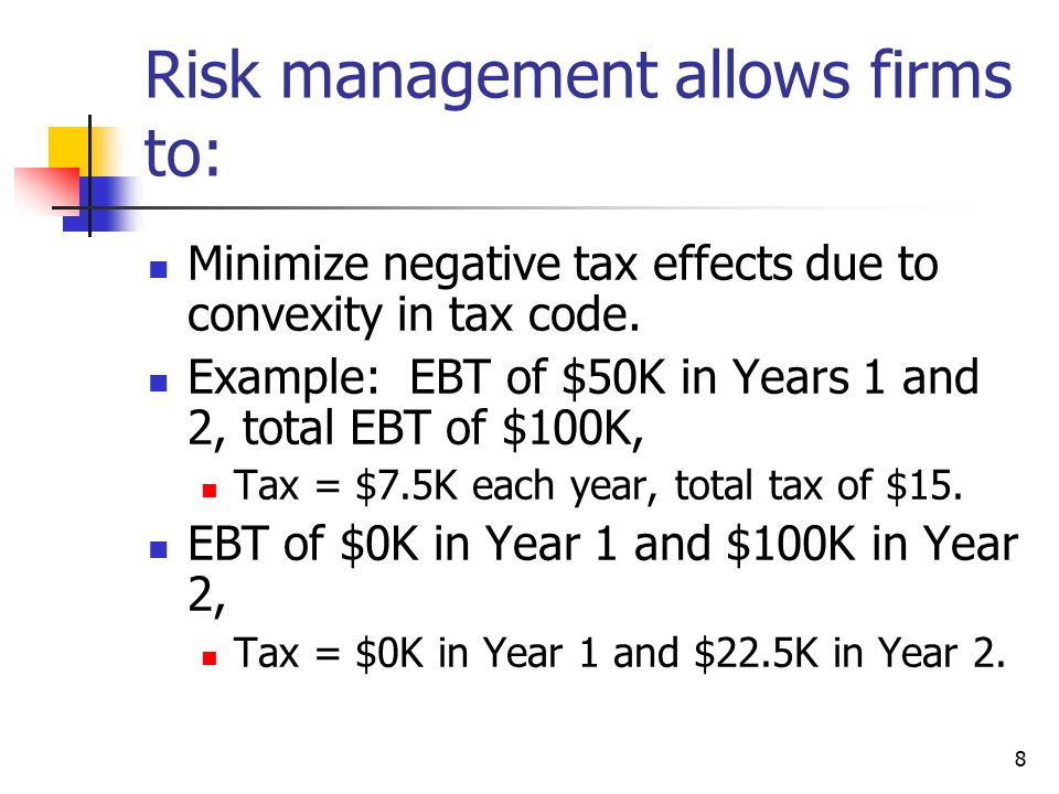 8 Risk management allows firms to: Minimize negative tax effects due to convexity in tax code.
