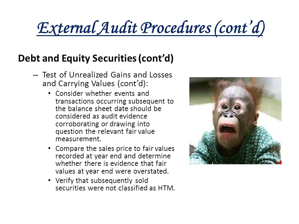 External Audit Procedures (cont'd) Debt and Equity Securities (cont'd) – Test of Unrealized Gains and Losses and Carrying Values (cont'd): Consider wh