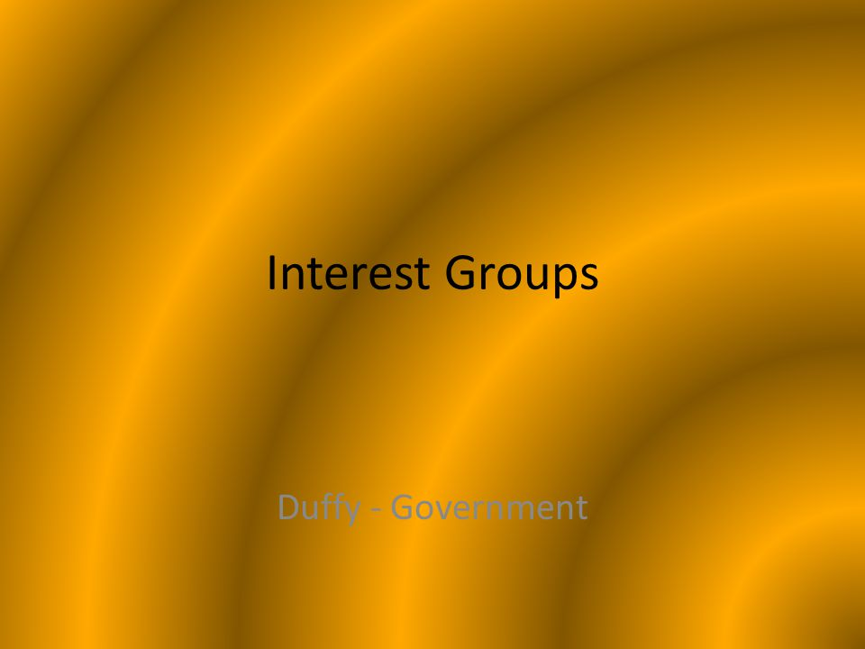 Interest Groups Duffy - Government