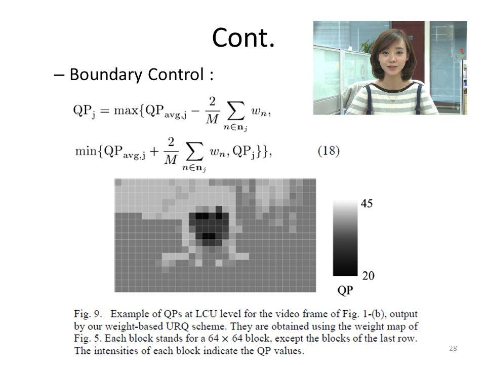 Cont. – Boundary Control : 28