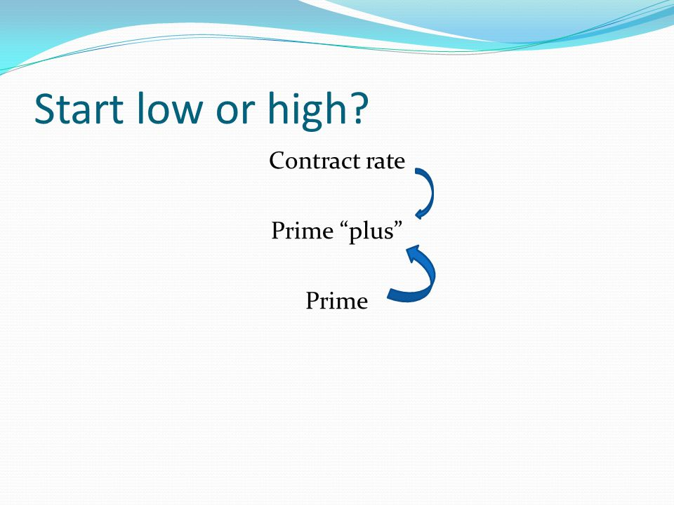 Start low or high Contract rate Prime plus Prime