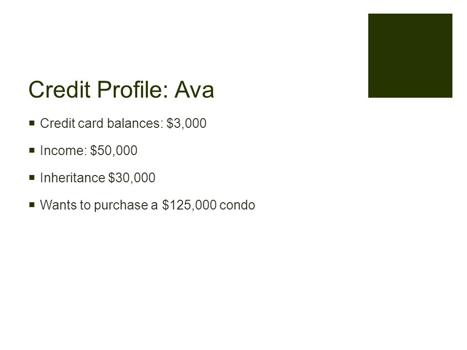 Credit Profile: Ava  Credit card balances: $3,000  Income: $50,000  Inheritance $30,000  Wants to purchase a $125,000 condo