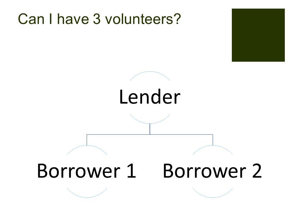 Can I have 3 volunteers Lender Borrower 1Borrower 2