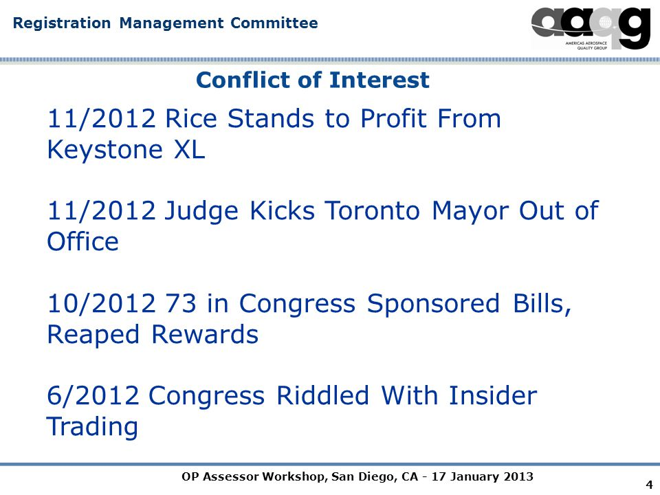 OP Assessor Workshop, San Diego, CA - 17 January 2013 Registration Management Committee 5 Confidentiality & Conflict of Interest Why.